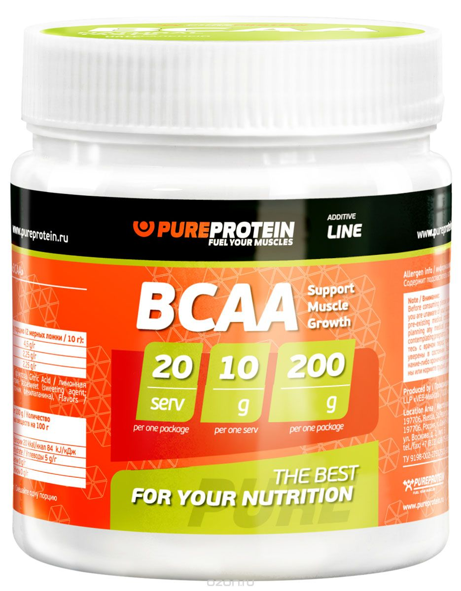 "BCAA PureProtein ""Additive Line"", лимон, 200 г"